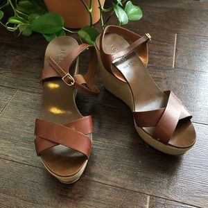 J. Crew Leather Platform Wedges Size 9